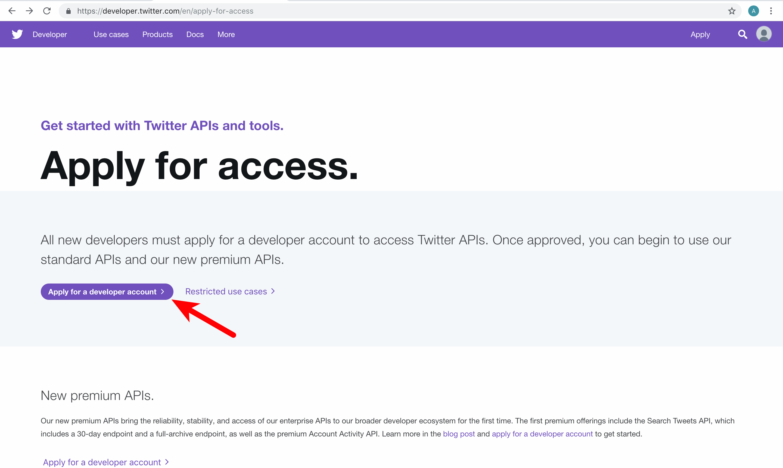Create Twitter application